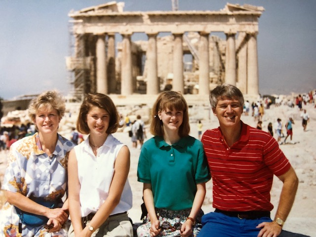 Simonson family vacation circa 1994 (looking right into the sun!). I remember I got SO SUNBURNED at a beach we visited - had a killer tan for like a day and then it all peeled. The sun is very intense, watch out!