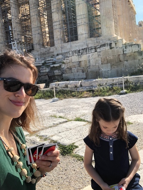 Playing UNO at the Acropolis - one of my favorite memories of our trip. Olivia is a shark, don't let that sweet face fool you.