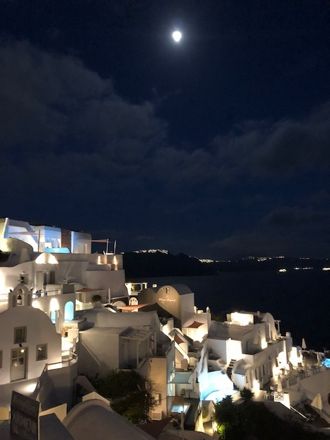 Full moon over Santorini!