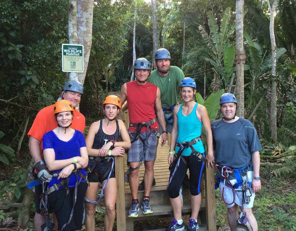 Ziplining in Belize at the 2015 Gene Families & Isozymes Meeting with, from L-R: Kyle and Jen Orwig (both University of Pittsburgh), Cathy Geyer (DVM, Greenville, NC), Jon Oatley (Washington State University), Chris Geyer (East Carolina University), Melissa Oatley (Washington State University), and Brian Hermann (University of Texas at San Antonio)
