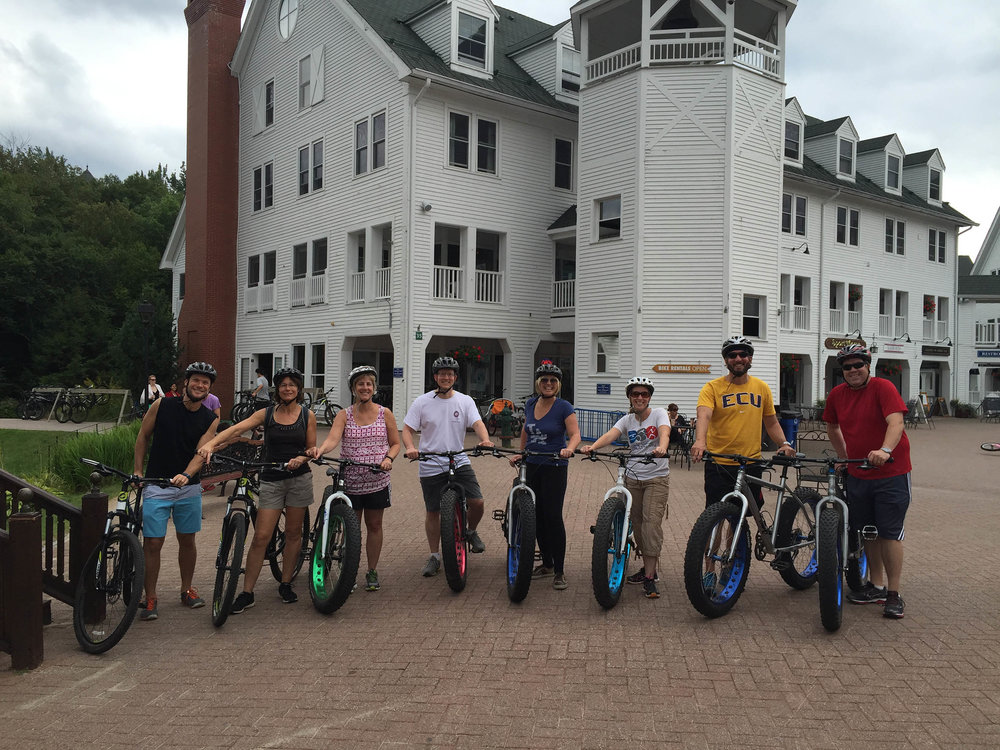 Mountain biking at the 2016 Gordon Research Conference at the Waterville Valley Resort, N.H. Riders include, from L-R:  Monika Ward  (University of Hawaii),  Marisa Bartolomei  (University of Pennsylvania),  Christopher Payne  (Northwestern University),  Amander Clark  (University of California, Los Angeles),  Karen Schindler  (Rutgers University), Chris Geyer (East Carolina University), and  Brian Hermann  (University of Texas at San Antonio).