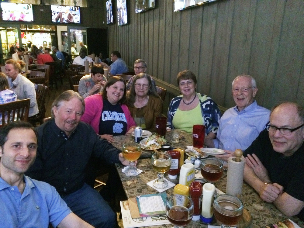 Watching the 2016 NCAA Men's Basketball National Championship Game (UNC v. Villanova) in New Orleans at the American Society of Andrology Meeting. Our viewing party includes, from L-R: Tony De Falco (University of Cincinnati), John McCarrey (University of Texas at San Antonio), Summer Goodson, Deborah O'Brien (University of North Carolina at Chapel Hill), Mitch Eddy (National Institute of Environmental Health Sciences), and Stuart Moss (NIH/NICHD). Not shown is Brian Hermann (University of Texas at San Antonio), the Villanova grad, who was too nervous about the game to be in the picture!