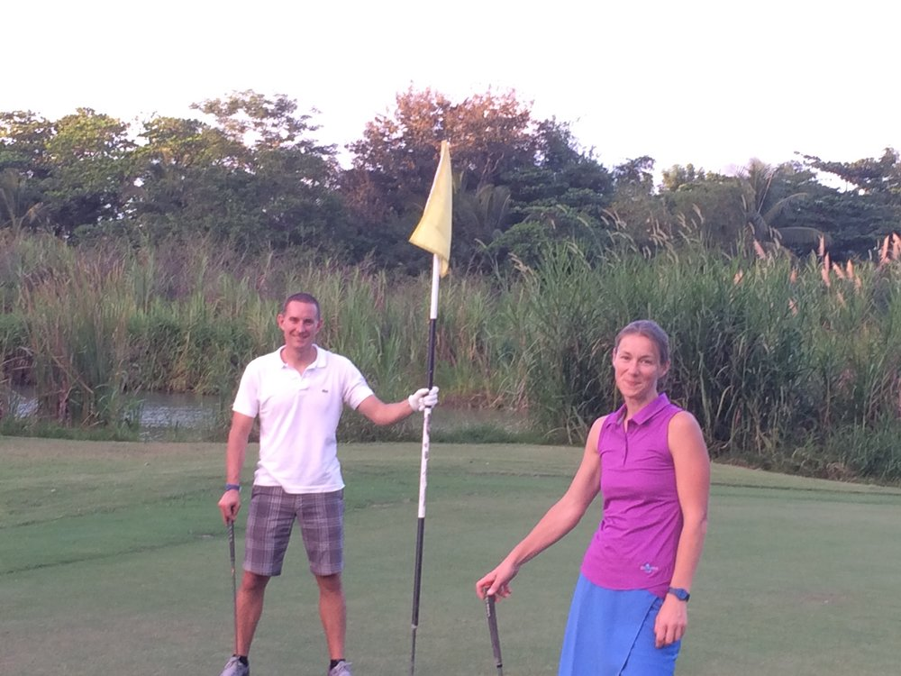 Golfing with Jon and Melissa Oatley (Washington State University) at the 2016 Gene Families & Isozymes Meeting in Rio Grande, Puerto Rico.