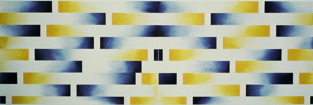 """Homage: Sadat Pastel on paper 26"""" x 80""""  1981"""