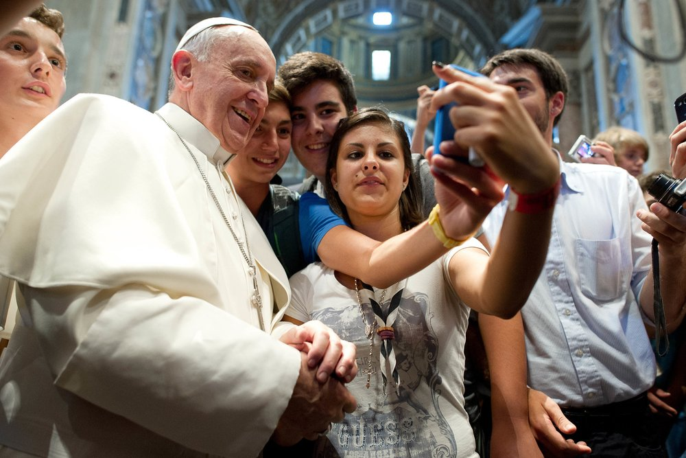"Pope Francis and selfie. ""The pope is a man who laughs, cries, sleeps calmly, and has friends like everyone else."" Pope Francis"