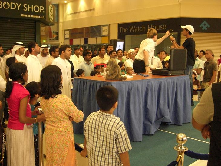 Matthew entertaining at the opening of a new shopping centre in Ajman, UAE
