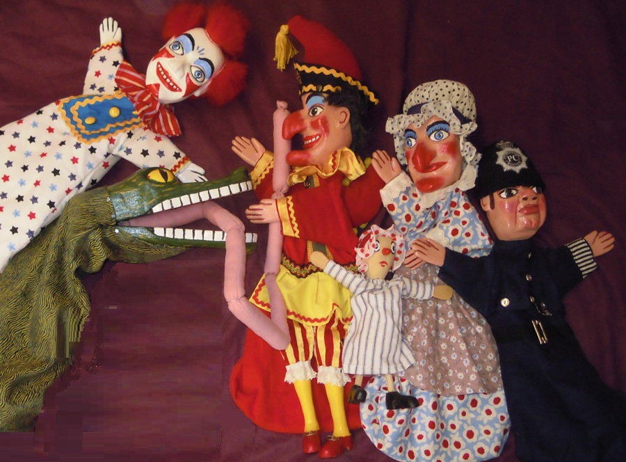 Mr Punch, Judy, Joey the Clown, the Policeman, The Crocodile and the sausages