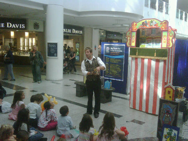 Punch and Judy Show in a shopping centre