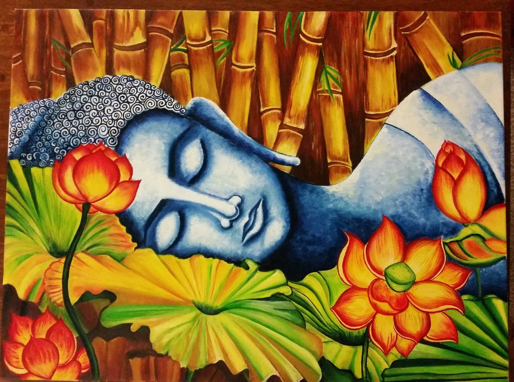 18 X 24, Oil on canvas    The painting depicts the calmness of the soul through serene face of Lord Buddha.