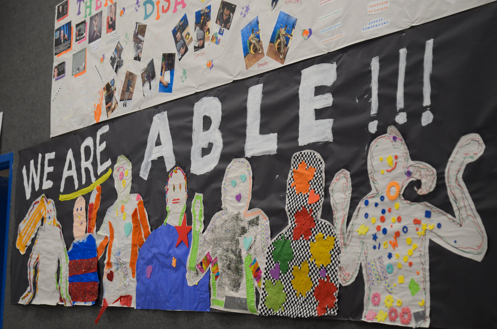 Artwork painted by students decorates the wall of Delmar Cobble School for the Severely Disabled in Columbia, Missouri, on Tuesday, Nov. 1, 2016. Building Administrator Donna Catt said the pay gap between state-funded special education teachers and public school teachers is a problem.