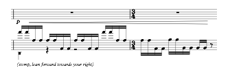Example 3. Bars 72-73 of Zoo, clip-clop motif and stomp.  © Copyright 2017 by Nina Shekhar. Used with permission.