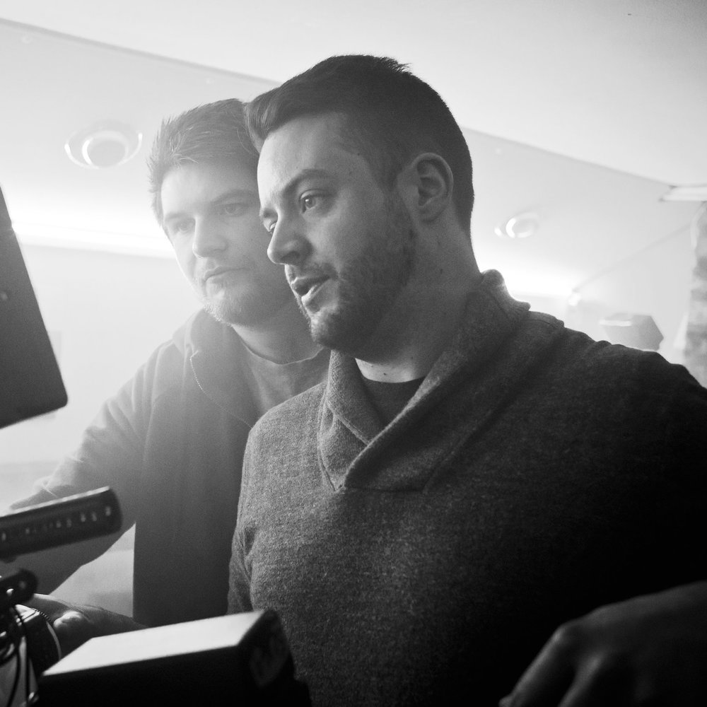 Director Stewart Sparke and Director of Photography Callum O'Connell watch playback.jpg