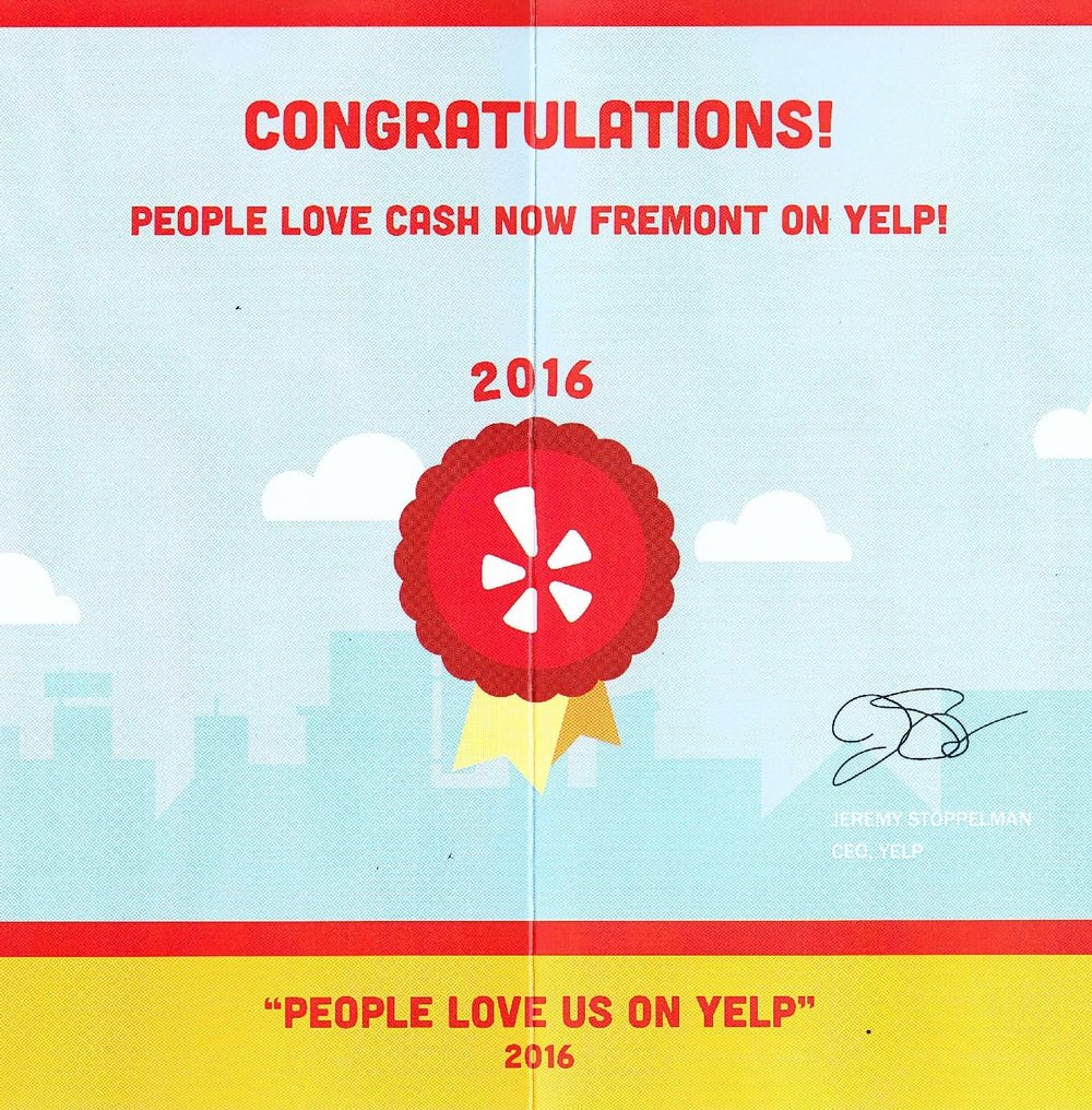 Cash Now Fremont Yelp Certification