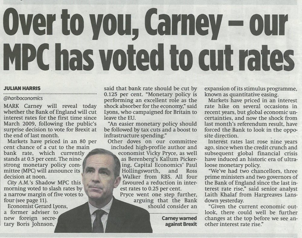 City AM - Over to you, Carney - our MPC has voted to cut rates