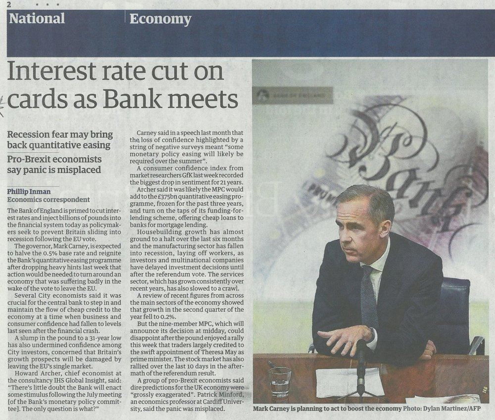 The Guardian - Interest rate cut on cards as Bank meets