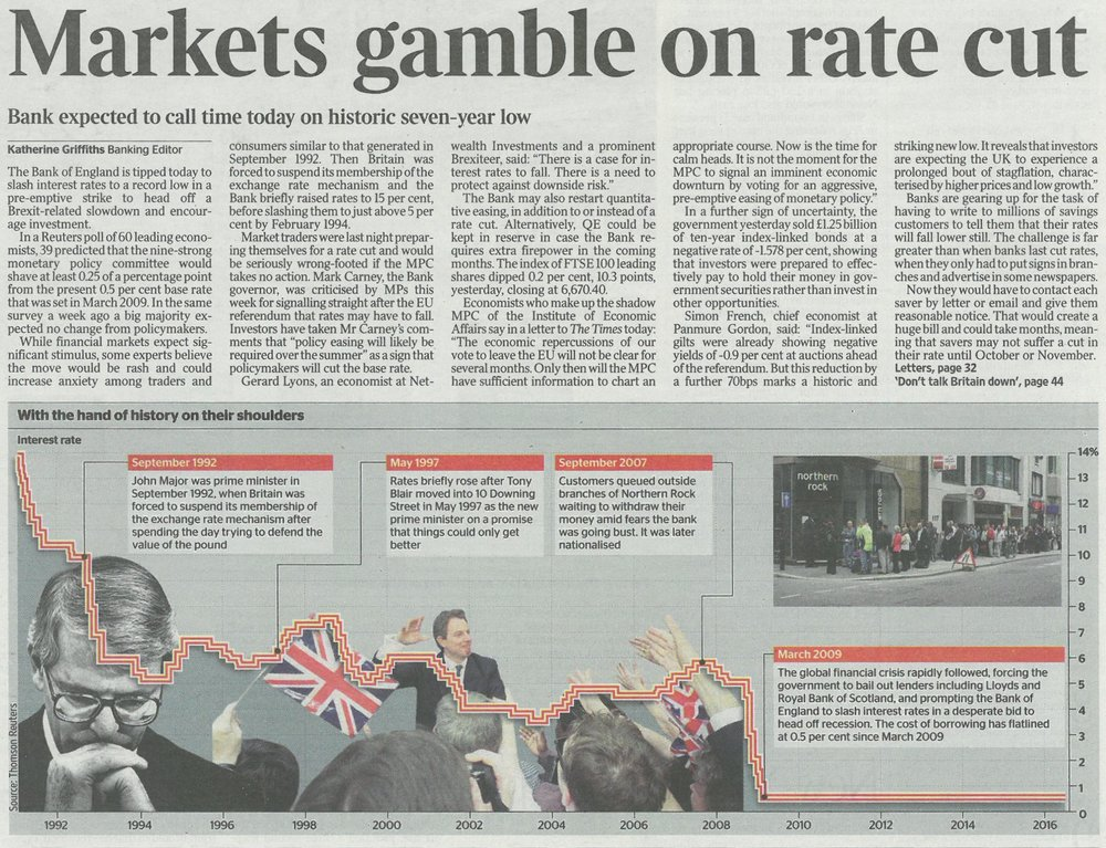 The Times - Markets gamble on rate cut