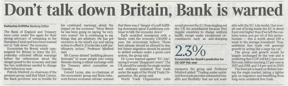 The Times - Don't talk down Britain, Bank is warned