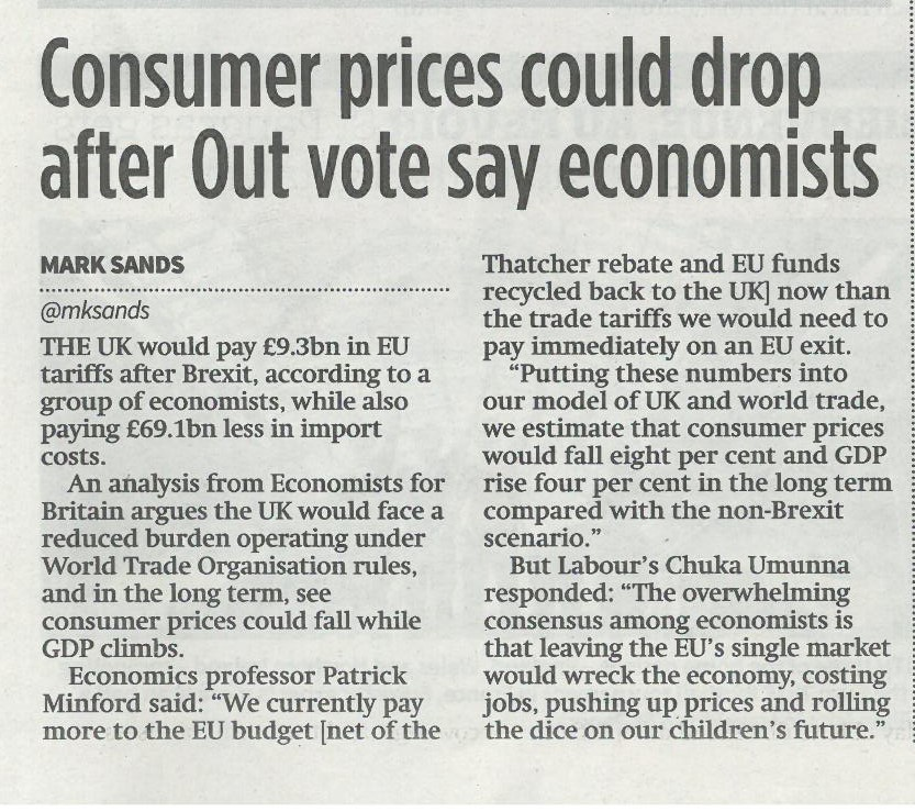 City AM - Consumer prices could drop after Out vote say economists
