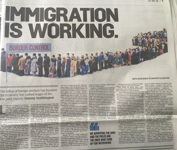 The Sunday Times - Immigration is working