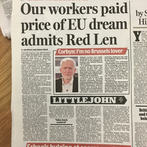 Daily Mail - Our workers paid price of EU dream admits Red Len