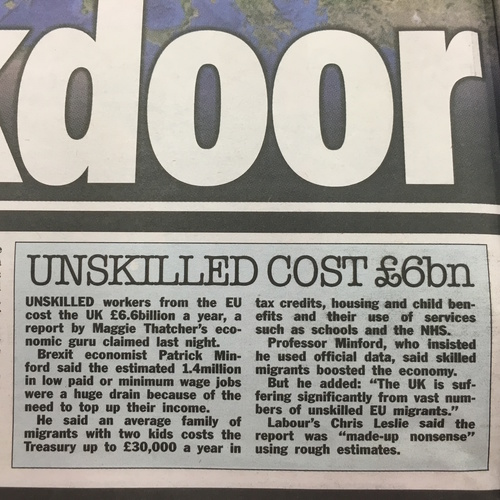The Sun - Unskilled cost £6bn