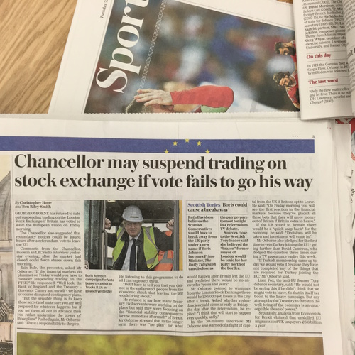 The Telegraph - Chancellor may suspend trading on stock exchange if vote fails to go his way