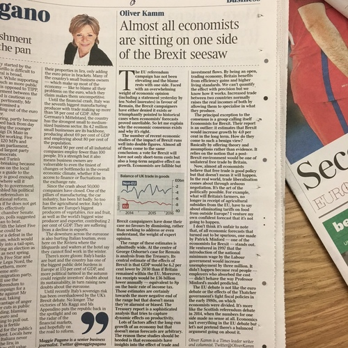 The Times - Almost all economists are sitting on one side of the Brexit seesaw