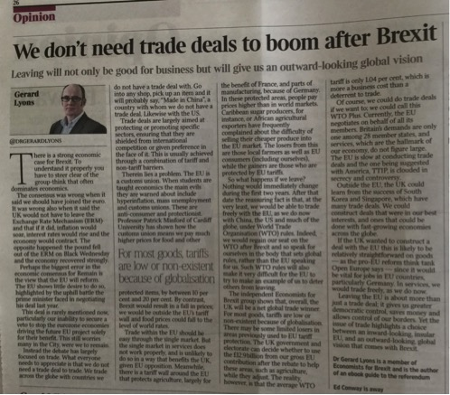 The Times - We don't need trade deals to boom after Brexit