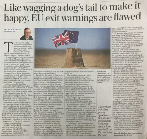 The Telegraph - Like wagging a dog's tail to make it happy, EU exit warnings are flawed