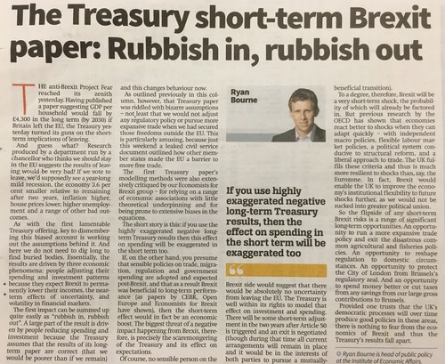 City AM - The Treasury short-term Brexit paper: Rubbish in, rubbish out