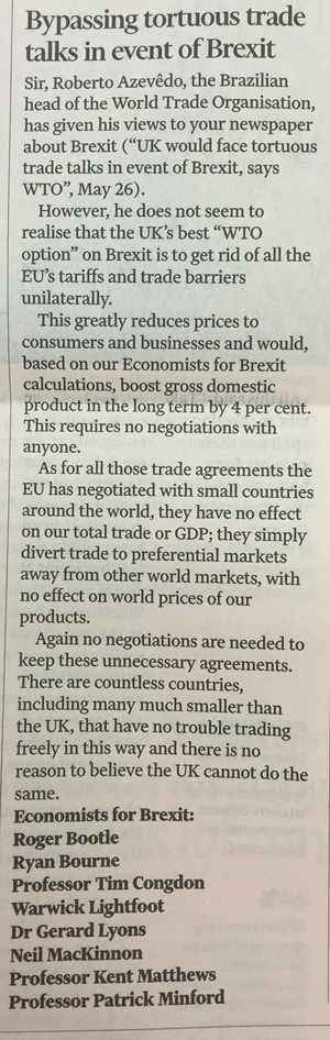 Financial Times - Bypassing tortuous trade talks in event of Brexit