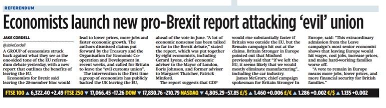 City AM - 'Economists launch new pro-Brexit report attacking 'evil' union