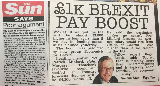 The Sun - 'Poor Argument' and '1K Brexit Pay Boost