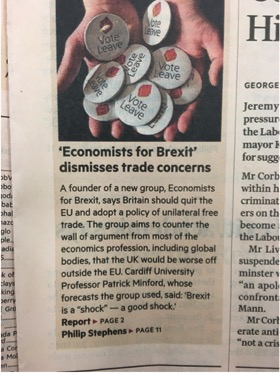 Financial Times - Leave economists break with profession's consensus