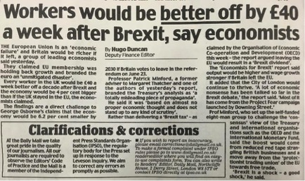 Daily Mail - Workers would be better off by £40 a week after Brexit, say economists