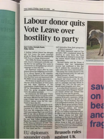 The Times - Labour donor quits Vote Leave over hostility to party