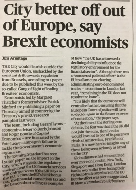 Evening Standard - City better off out of Europe, say Brexit economists