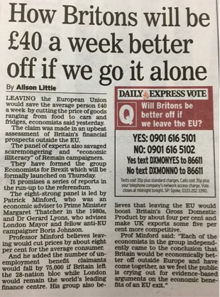 Daily Express - How Britons will be £40 a week better off if we go it alone