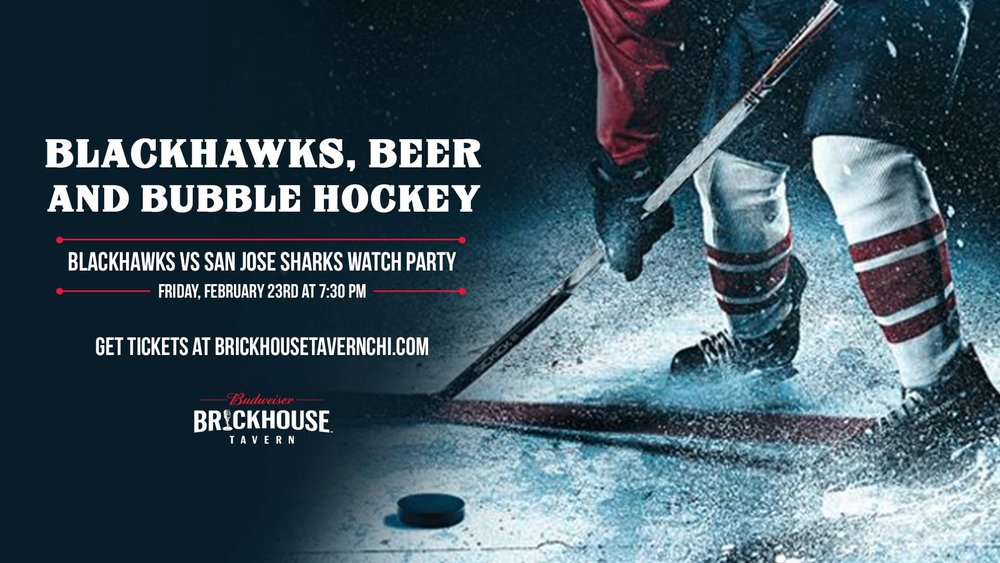 Blackhawks, Beer & Bubble Hockey - Friday @ 7:30pm:Brickhouse Tavern