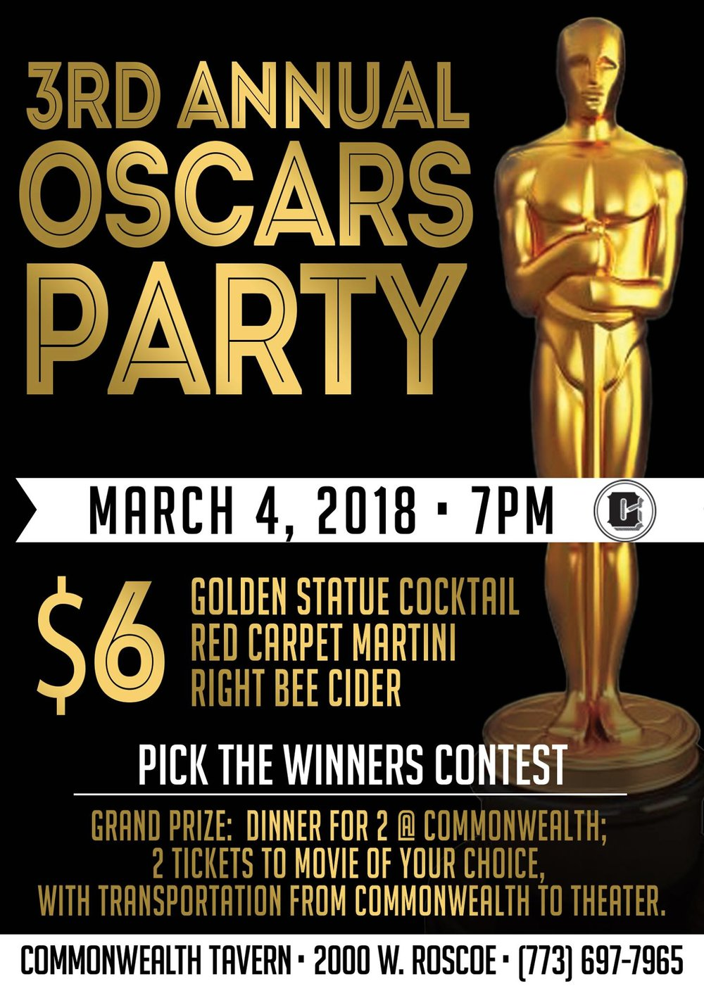 3 rd Annual Oscar's Party - Sunday @ 7pm:Commonwealth