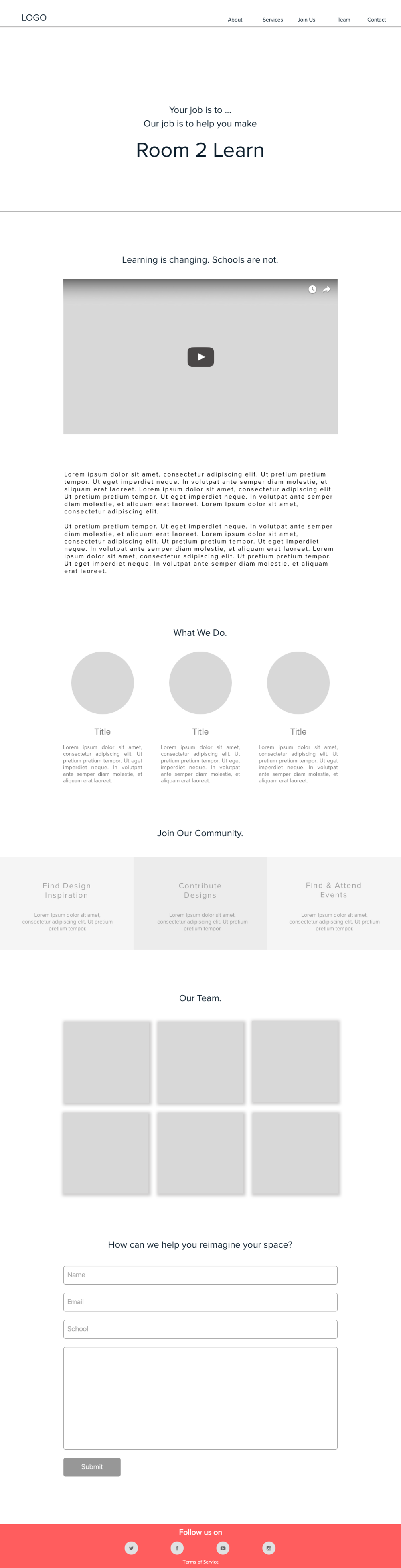3. Wireframe of new homepage