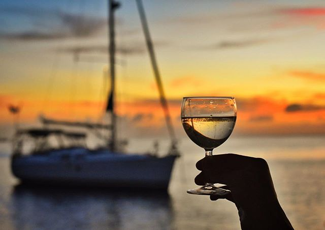 Cheers to the weekend! 🥂 - #sailinglife #sunset #caribbean #thegoodlife