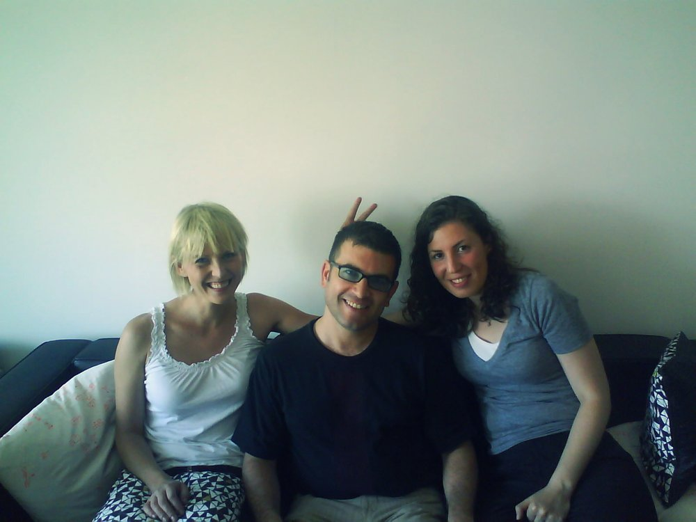 Michelle , me, Hannah at their place in Brooklyn