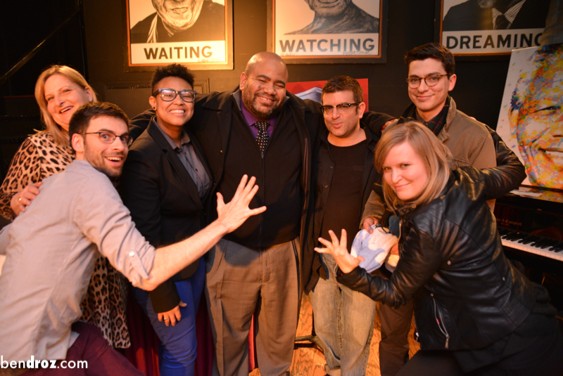 Melanie, Yev, Chelsea, Jeff, me, Jennifer, Adam at Story League at Busboys and Poets, DC (Photo: Ben Droz)