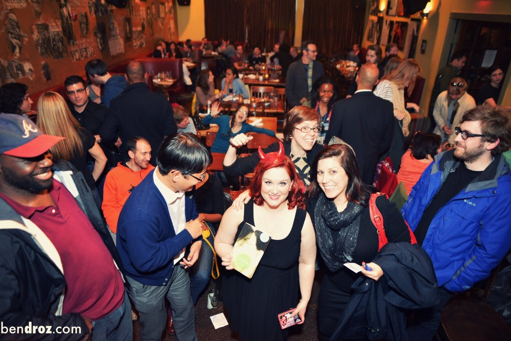 Foreground center: Chuck, Diane & Sarah - but lots of others in here including Kevin P, Derek H, Natalie M & me (Photo by Ben Droz at  Busboys and Poets  14/V, DC)