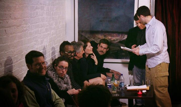 Story League 's 1st show! At Black Fox Lounge in DC. L-R, Amy S, Jeffrey B, Natalie I, Sheldon S, Jon A, Kelly T, JT B, me, Adam R. Photo by Dan Foster