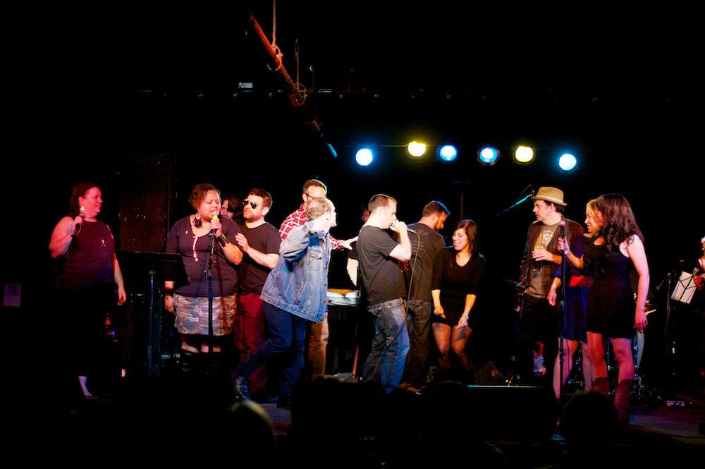 Story League Sings: Bad Boys (Heather, Sasha, me, Andrew, James, Jason, Sarah, Shawn, Dana) at Black Cat DC. Photo:  Andy DelGiudice