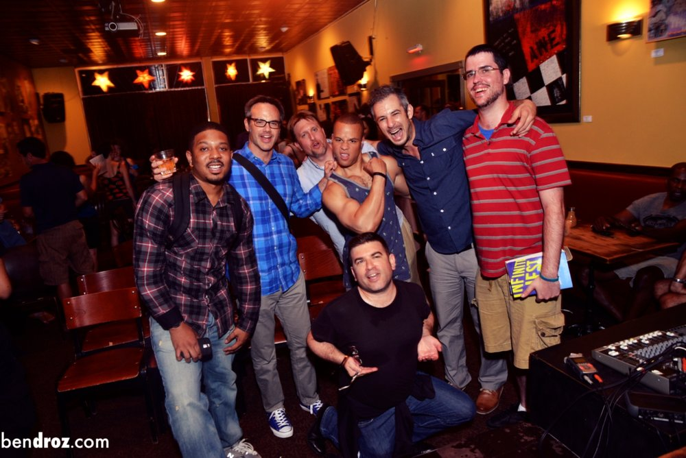 Alexx, Derek, Zach, me, Guy, Eric, Steve at Busboys and Poets after Story League (Photo:  Ben Droz )