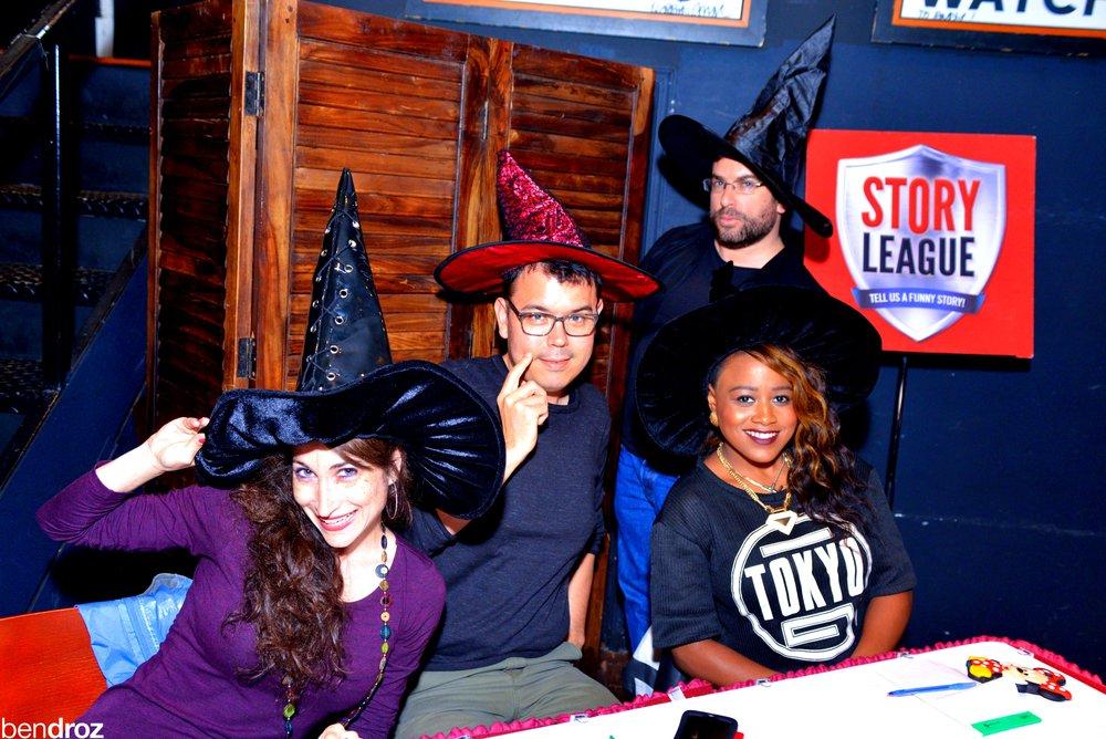 Judges' Table at Story League: Terrifying contest at Busboys and Poets 14/V DC. L-R:  Erika , John, me, Paris (Photo:  Ben Droz )
