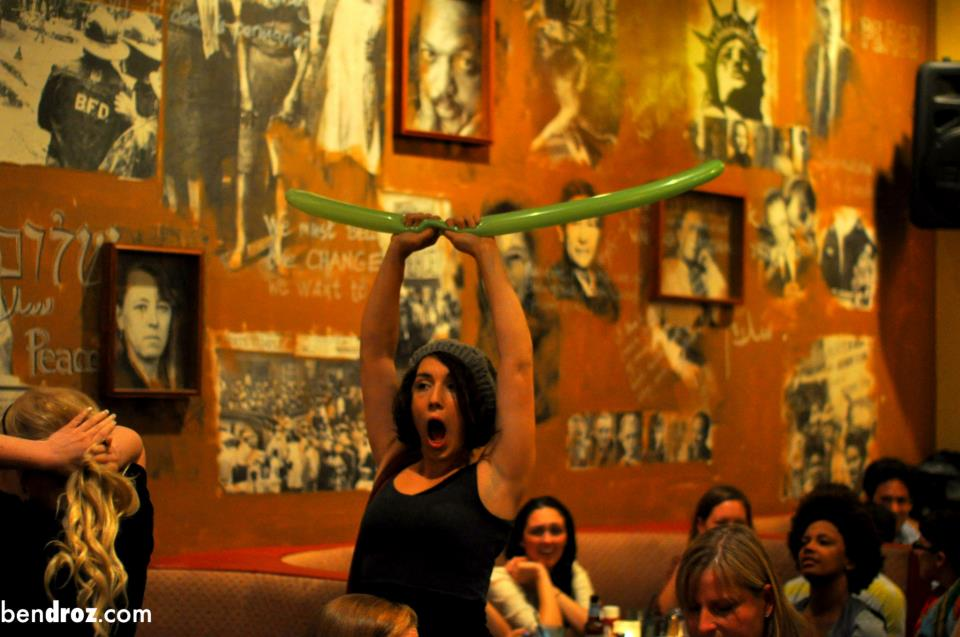"""Katie Balloons before or after her """"stage invasion"""" at Story League at Busboys and Poets 14/V DC."""